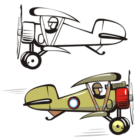 avion de chasse: Vector cartoon biplan