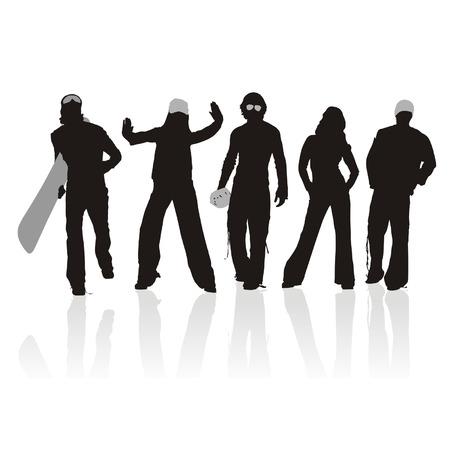 silouettes: sports silhouette set