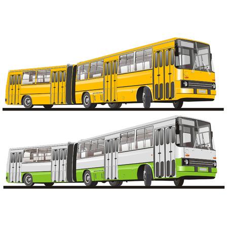 motor de carro: Vector de autobuses articulados aislados de la ciudad