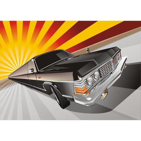 gaz: Vector Very long vintage limo Illustration