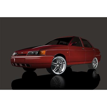 shiny car: Vector Rode glimmende auto Stock Illustratie