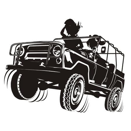 summer tires: Vector silueta detallada del jeep