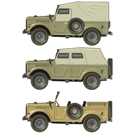 vehicle combat: Vector retro car set Illustration