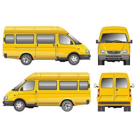 paper delivery person: Vector mini-bus GAZ-2705 taxi