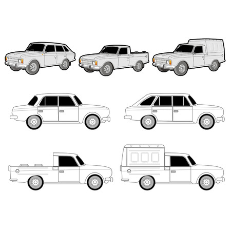 pickup: Vector  IJ car modifications set Illustration