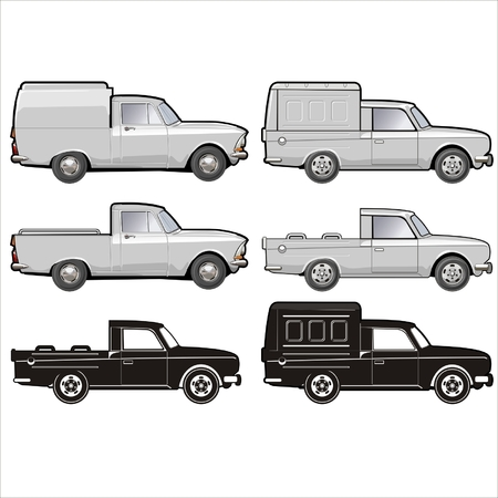 car side view: Vector delivery pick-up set