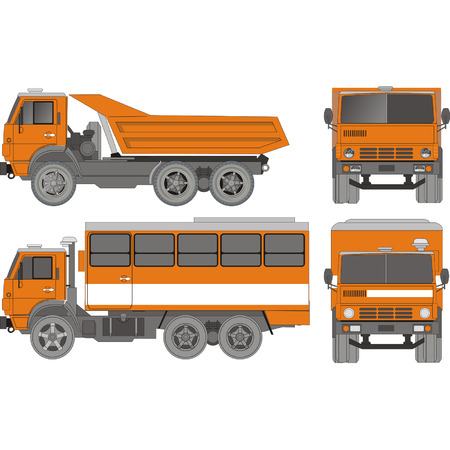 Vector Heavy Truck set Illustration