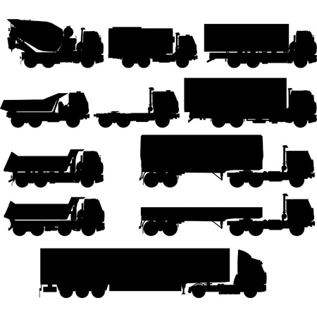 Vector truck silhouettes set Vector