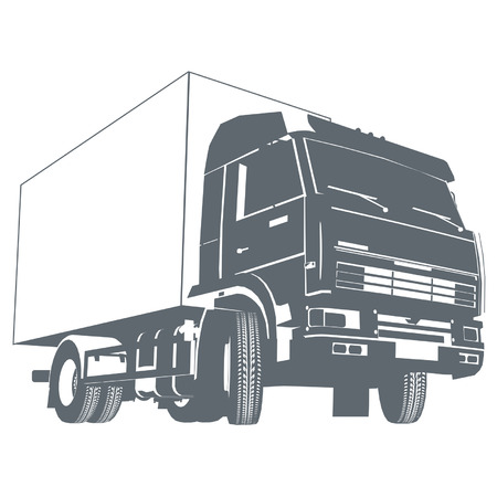 commercial vehicles: Vector truck silhouette Illustration