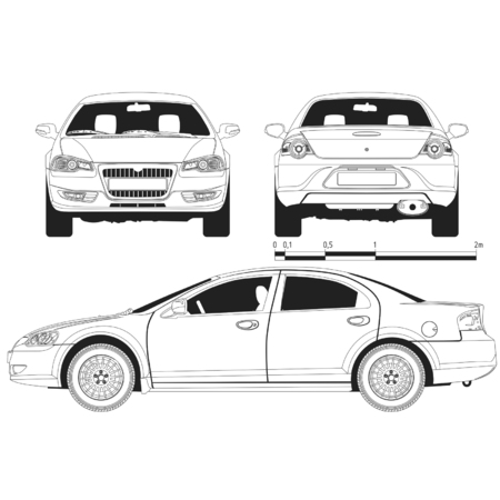 trekken: Vector technisch ontwerp van de auto Volga-Mocht Stock Illustratie