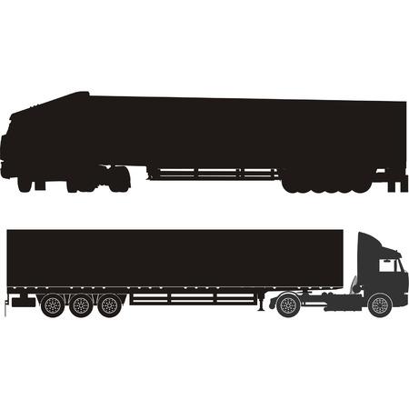 Vector semi-truck silhouettes set Stock Vector - 4220637