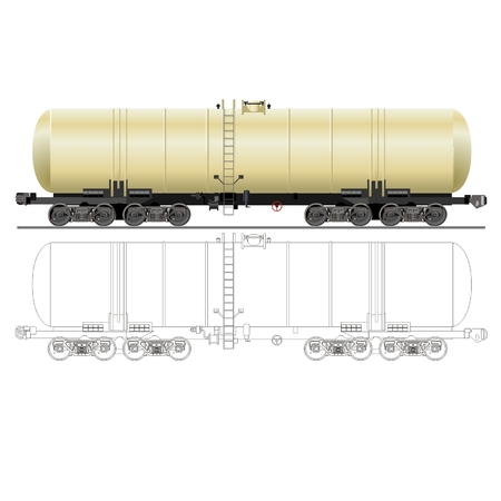 fuel storage tank: vector oilgasoline tanker car 15-880 Illustration