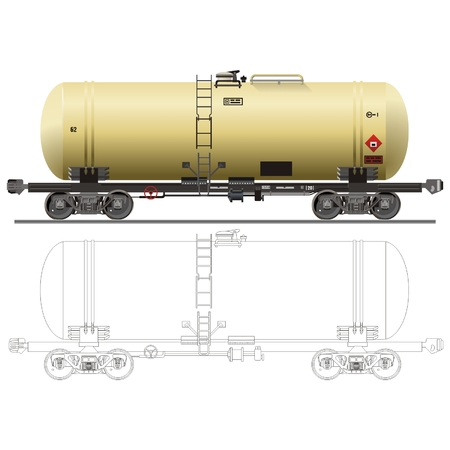 tank car: vector Oil  gasoline tanker car 15-1443