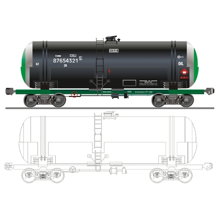 tank car: vector Oil  gasoline tanker car 15-1566