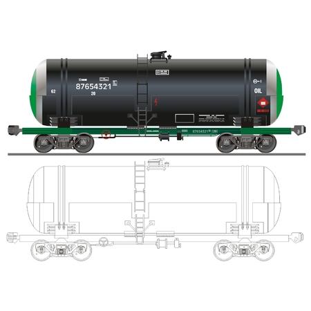 oil tanker: vector Oil  gasoline tanker car 15-1566