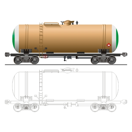 tank car: vector Oil  gasoline tanker car 15-869