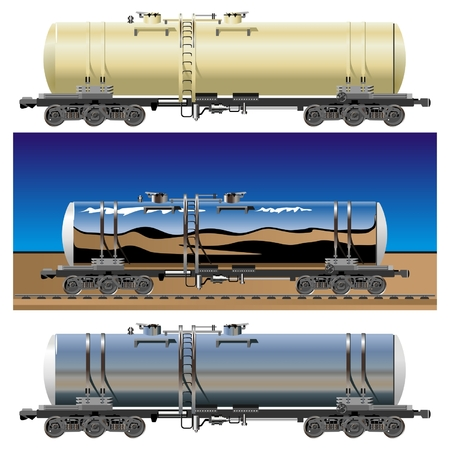 vector oil  gasoline tanker cars 15c865 set Vector