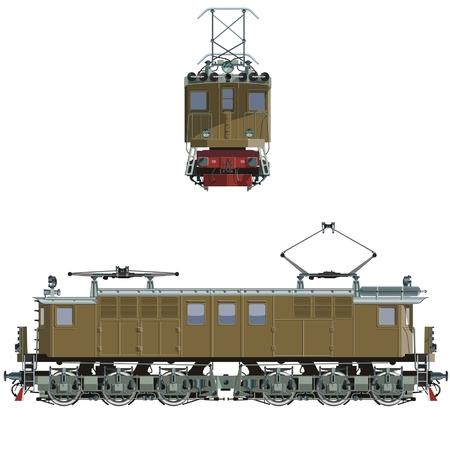 electric iron: vector retro locomotive vl-19-01 Illustration