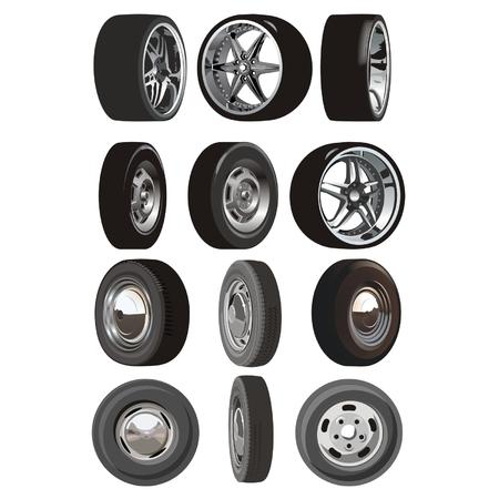 ruedas de coche: Vector conjunto coche ruedas Vectores