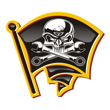 pirate flag: Vector moto-Jolly Roger badge Illustration