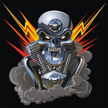 skull: Vector metall cr�ne avec le moteur Illustration