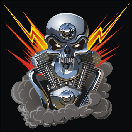 Vector metall skull with engine Vector
