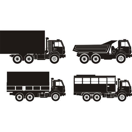 Transportation silhouettes set 7 Vector