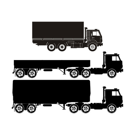semi truck: Transporte siluetas conjunto 6