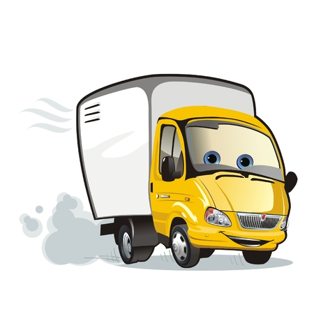 delivery truck: vector Cartoon delivery  cargo truck