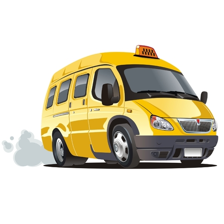 vector cartoon: Vector cartoon taxi bus