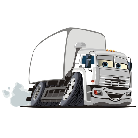 Vector cartoon delivery  cargo truck Vector