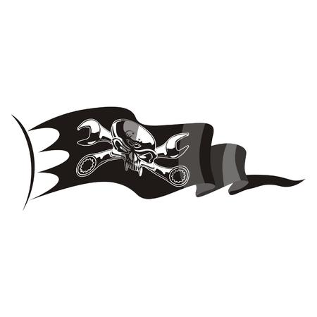 Vector moto-Jolly Roger flag Stock Vector - 4344095
