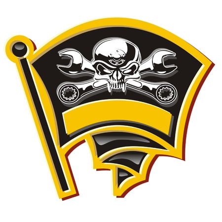 Vector moto-Jolly Roger badge Vector