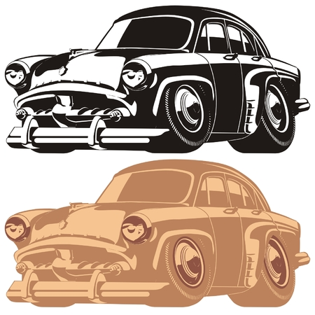 hot wheels: Vector silhouette cartoon retro car