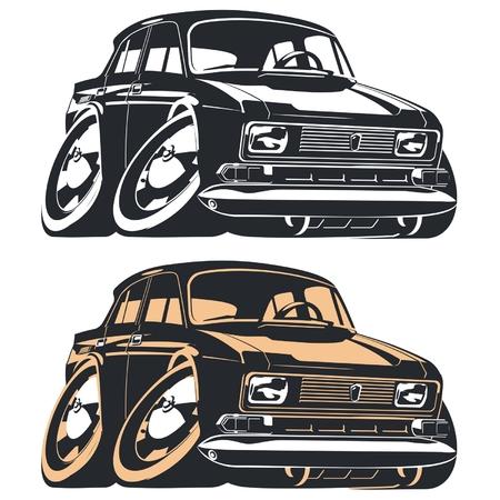 Vector silhouette cartoon retro car Vector