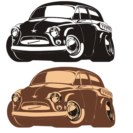 Vector silhouette cartoon retro car Stock Vector - 4344083