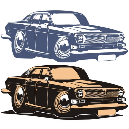 Vector silhouette cartoon retro car