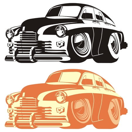 motorized sport: Vector silhouette cartoon retro car