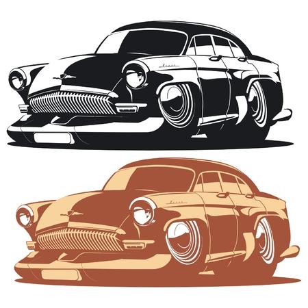 Vector silhouet cartoon retro auto