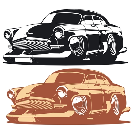 rod sign: Vector silhouette cartoon retro car