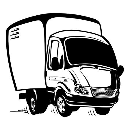 russian car: Vector Cartoon delivery  cargo truck