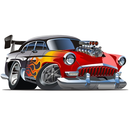 hotrod: Vector retro cartoon hotrod