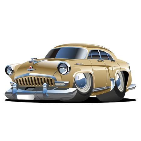 drag: Vector cartoon retro car Illustration