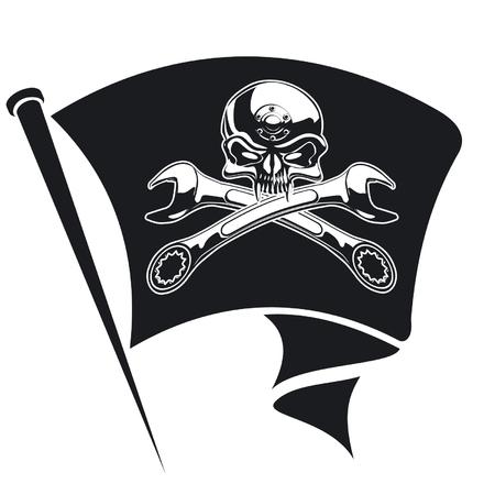 Vector moto-Jolly Roger flag Vector