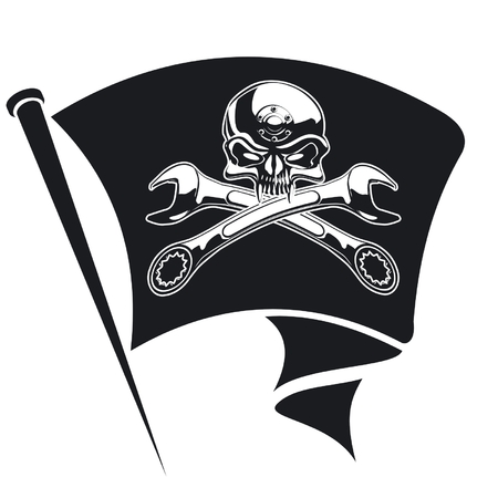 pirate flag: Vector moto-Jolly Roger flag Illustration