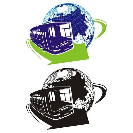 globus: Vector tourist bus logo
