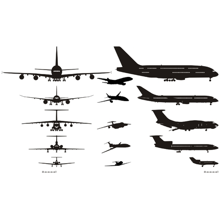 cargo plane: Vector airplanes silhouettes set
