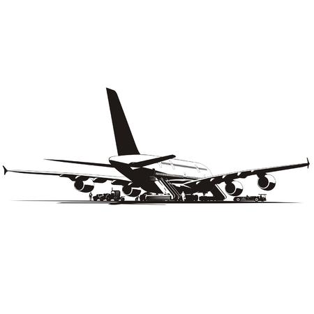 Vector airplane at runway