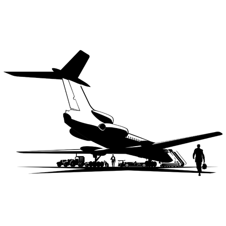 Vector airplane at runway Stock Vector - 4381787