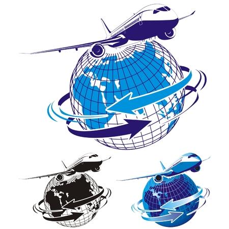 earth moving: Avi�n de pasajeros de vectores como un logotipo Vectores